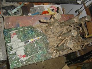 mes création principalement des droïdes échelle 1  Diorama%2Bxwing%2B25