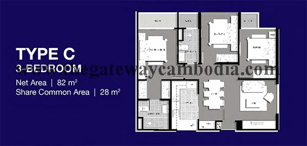 Gateway at Cambodia The-Gateway-%2540-Cambodia-Floor-Plan-3-Bedrooms-Watermark