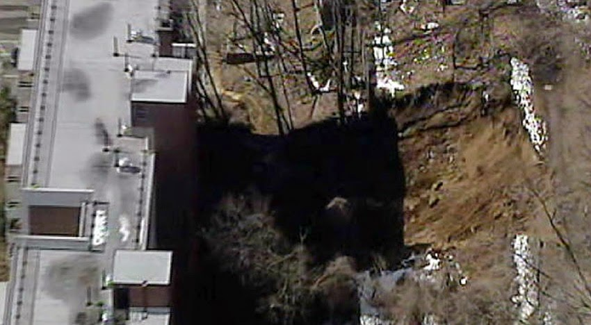 GEOLOGICAL UPHEAVALS: Monster Sinkhole Forming In Russia Caught On Camera - Over 100 Metres Deep! Landslide_yonkers
