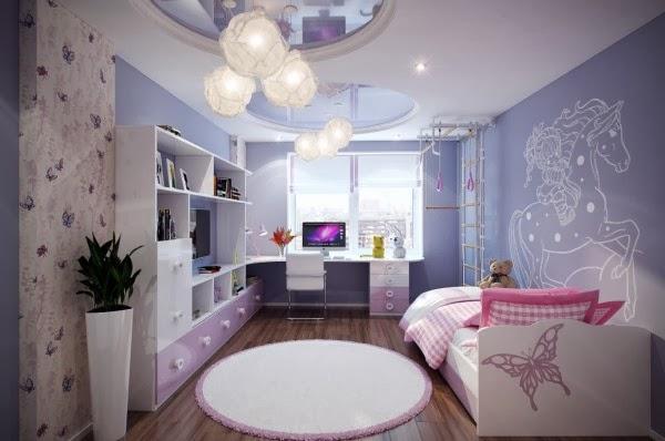 غرف نوم أطفال بألوان وتصميمات جميلة 2-Purple-pink-kids-room-600x398