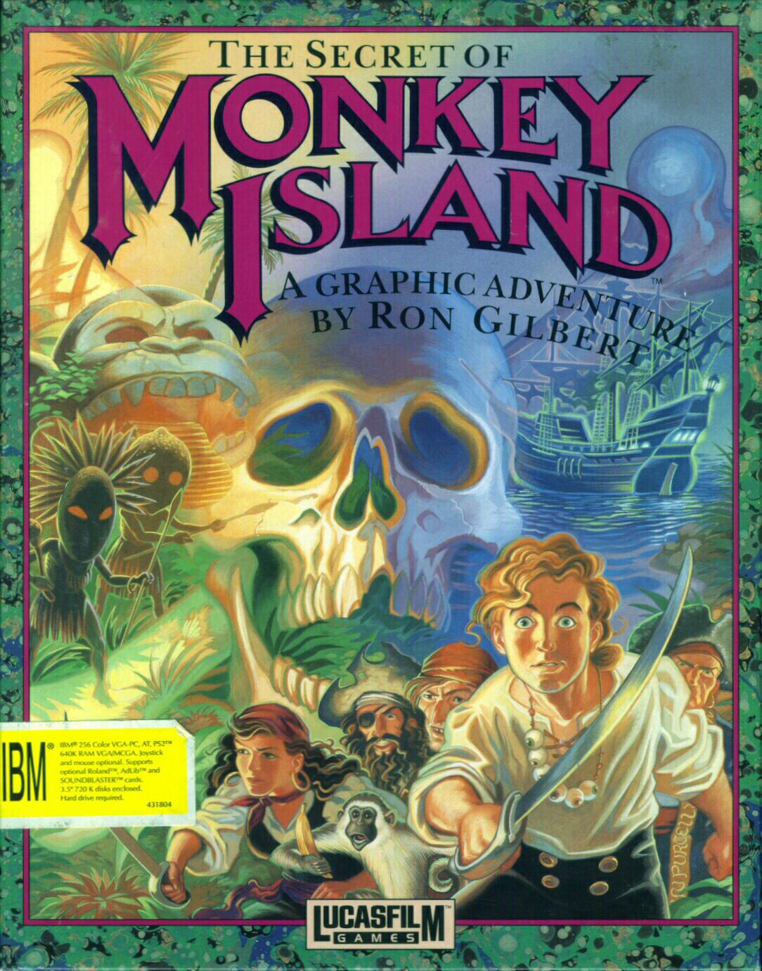 Les plus belles jaquettes du jeu vidéo Monkey_Island_LucasFilm_Games_IBM_PC_version_originale_1990