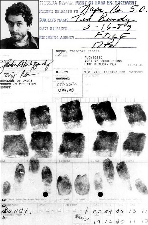 Robert 'Ted' Bundy (serial killer): handprint + fingerprints Tedbundy