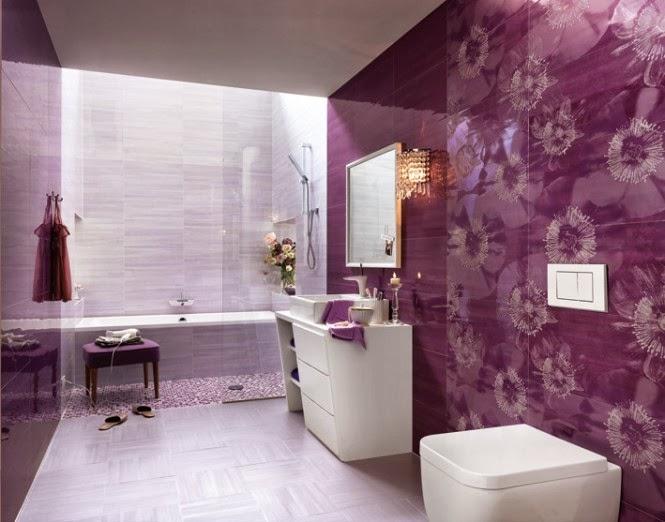حمامات مجموعة تصميمات جذابة جداً  Purple-white-floral-bathroom-ceramic-tile-665x522