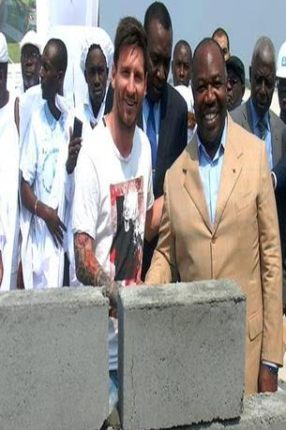 PHOTO: Masked Man Steals The Foundation Stone Messi Laid In Gabon 1