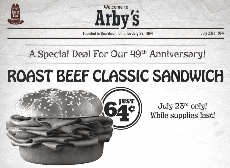 One day closer to the weekend... - Page 20 Arbys-64-cent-roast-beef-july-23