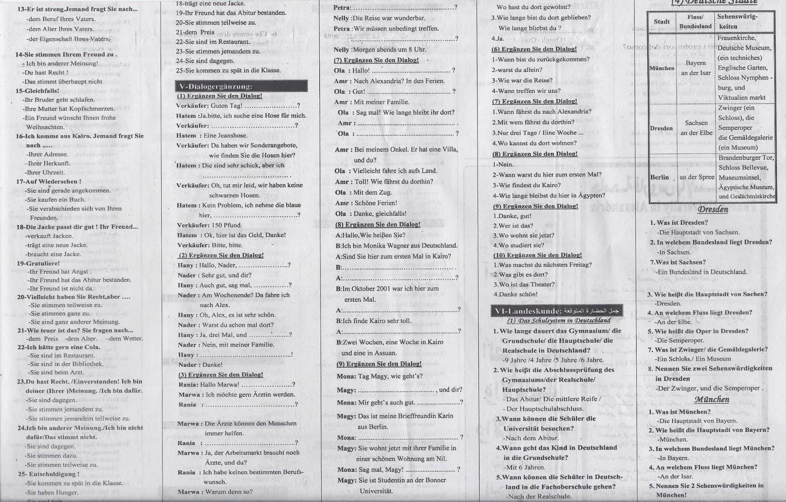 هذة توقعات ملحق الجمهورية 14/6/2015 لامتحان اللغة الألمانية للثانوية العامة  04