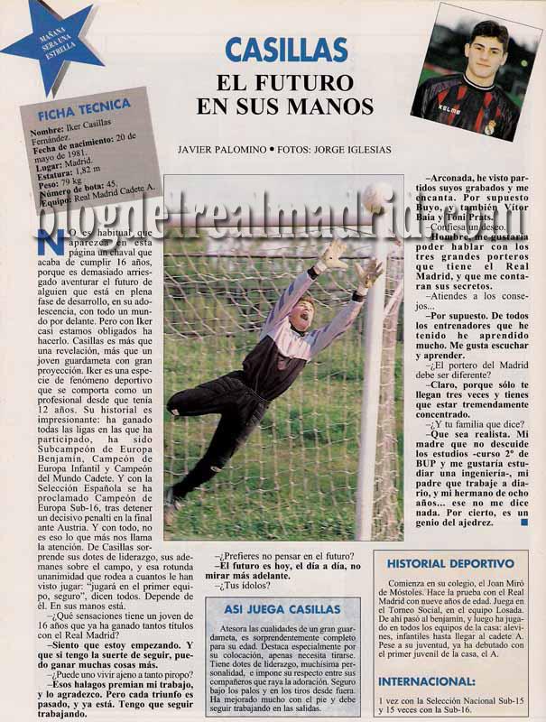 Cantera - Evolución de estatura y peso Real Madrid y cantera Casillas97