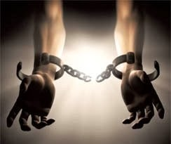 """The World stands and says: """"NO MORE!""""  Shackles"""