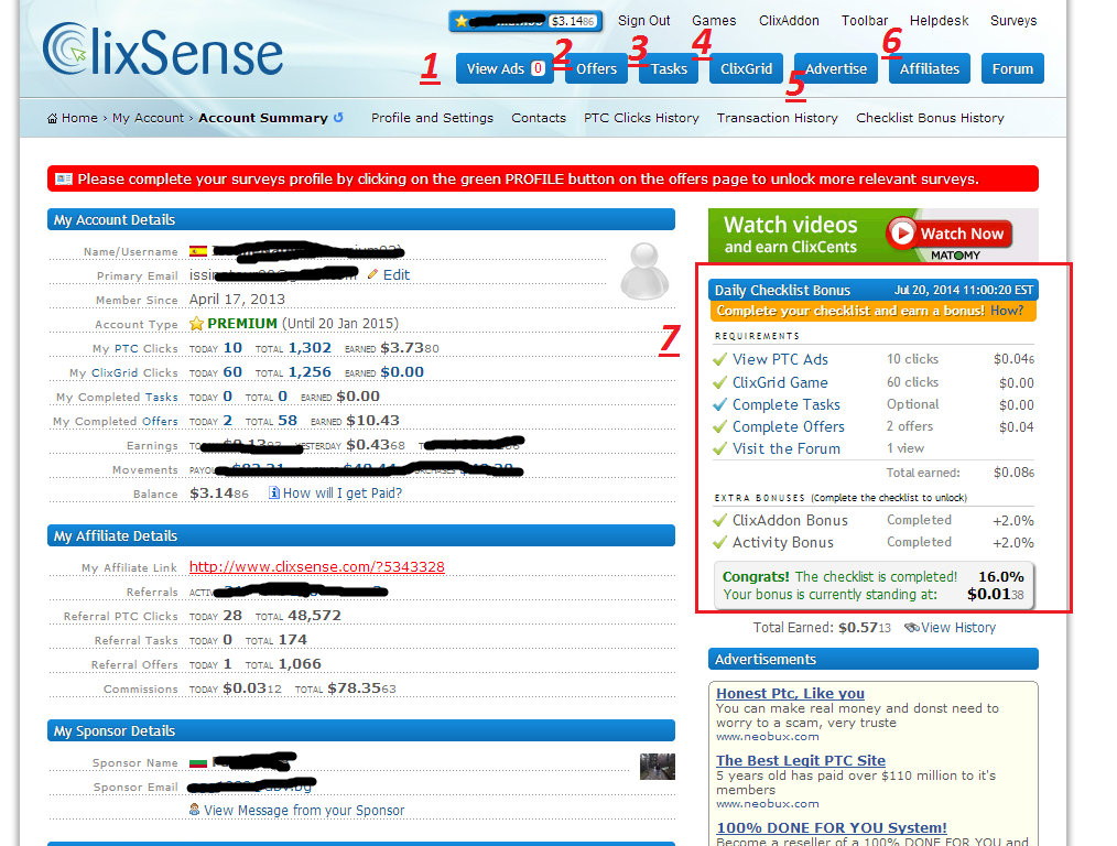 Guia y consejos de Clixsense - Regalo premium a referidos activos Clix1