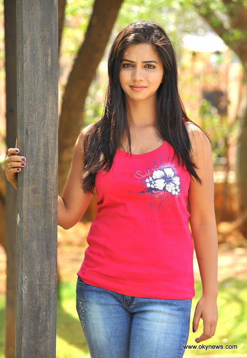 Nisha Shah Latest Stills In Red Shirt And Blue Jeans Nisha-Shah-New-Photos-CF-01