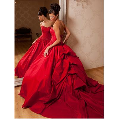 VETEM NGJYRA KUQE.............. Big-Red-wedding-Dress-7