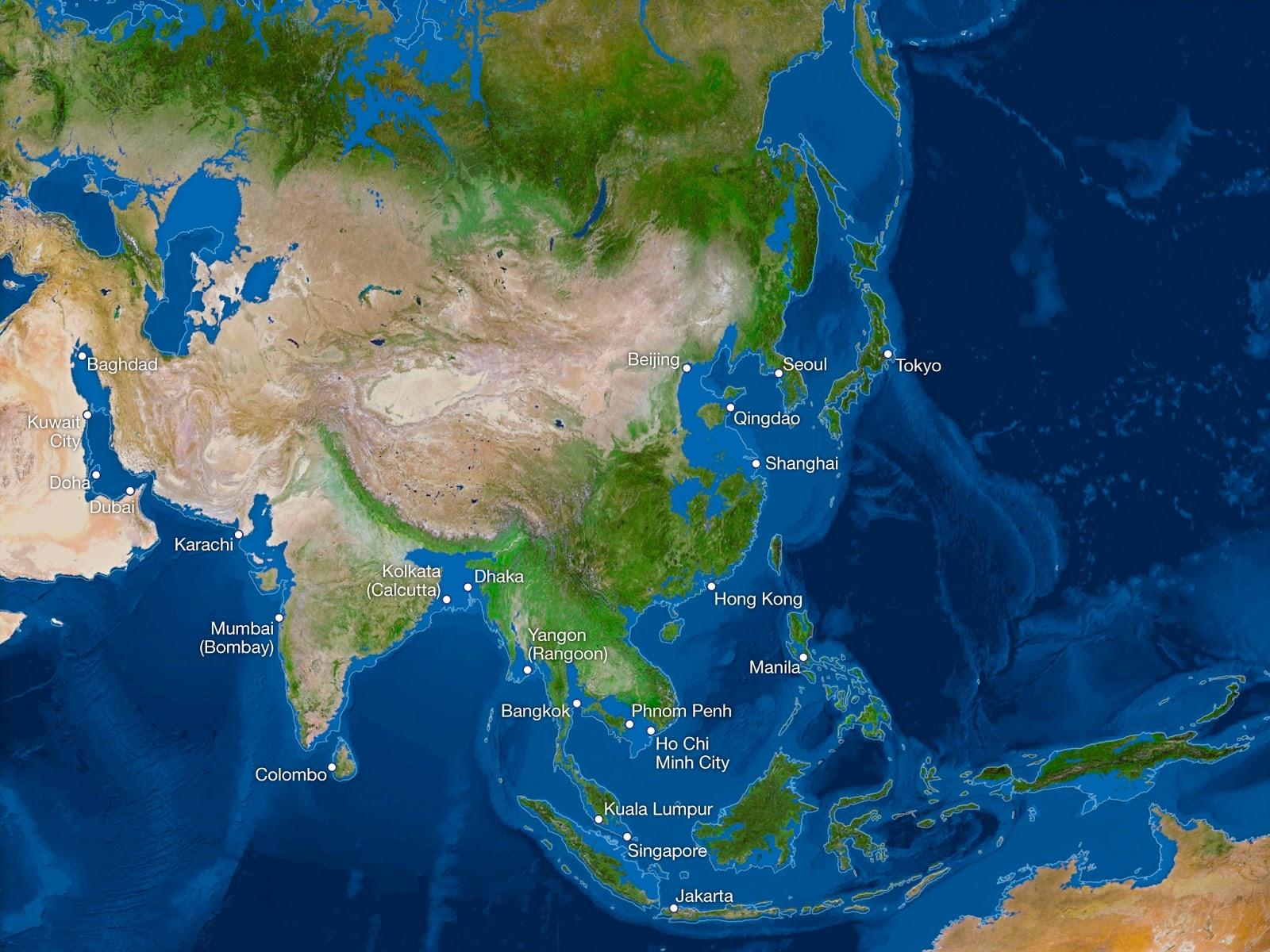 ¿Cómo sería la Tierra si todo el hielo se derritiera? Asia-sin-hielo
