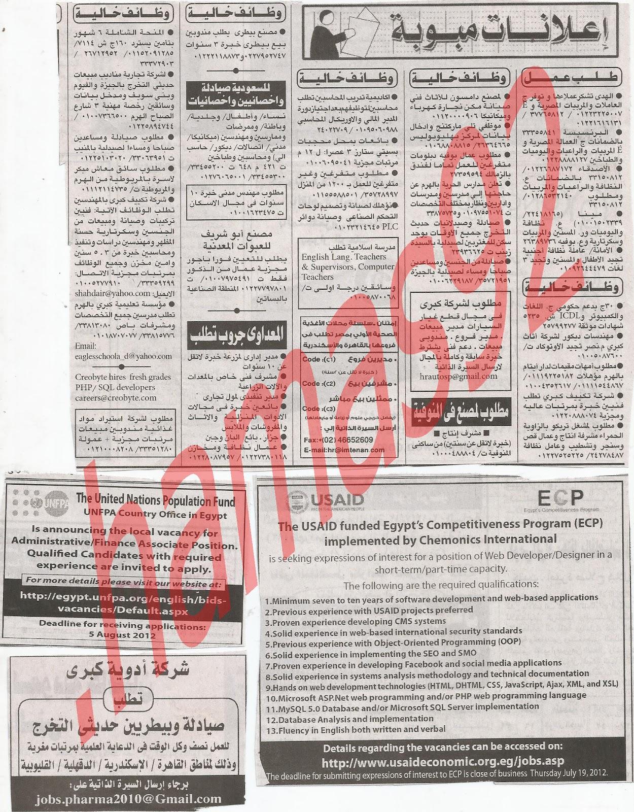 اعلانات وظائف جريدة الاهرام الجمعة 13/7/2012 كاملة - الاهرام الاسبوعى 10