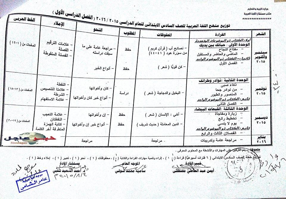 """لغة عربية: بالصور توزيع مناهج 2016 للصفوف الابتدائية """"من الاول للسادس الابتدائي"""" 9"""