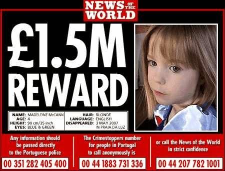 News of the World gave McCanns REWARD money in April 2011. Madeleine-mcann