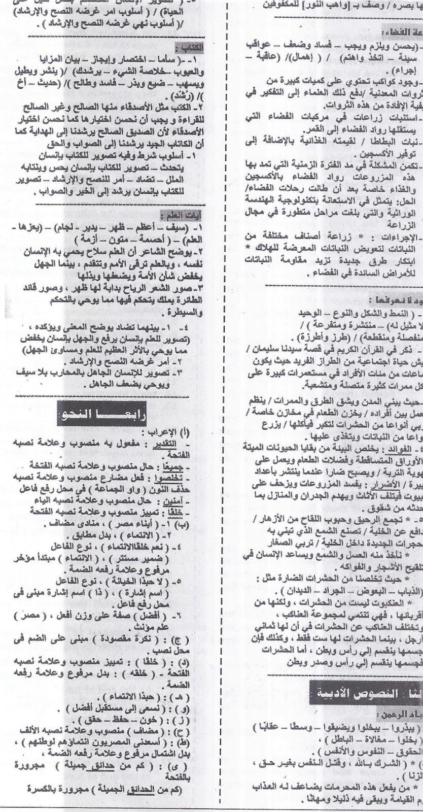 """توقعات ملحق الجمهورية """"امتحانات مجابة"""" فى اللغة العربية للشهادة الإعدادية - نصف العام 2016 Scan0011"""