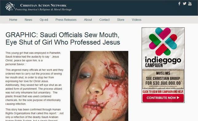 Barbarie saoudienne : une jeune fille a eu la bouche et l'œil gauche cousus pour avoir évoqué JESUS Expose-christianaction