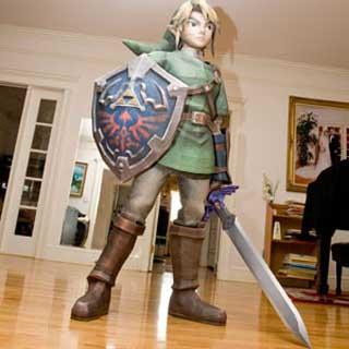 Link : costume en papier maché Life-size-link-zelda-papercraft