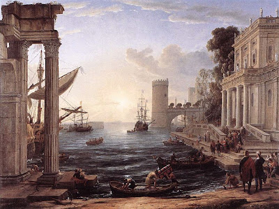 Puerto Romano ClaudeLorraine-Seaport-with-the-Embarkation-of-the-Queen-of-Sheba-1648