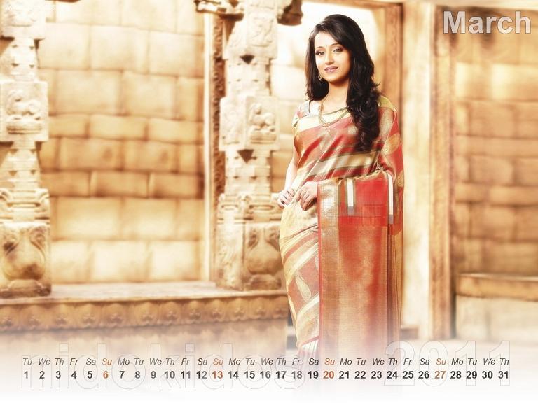 Trisha Krishnan Trisha-New-Year-Calendar-2011-Desktop-Calendar-March