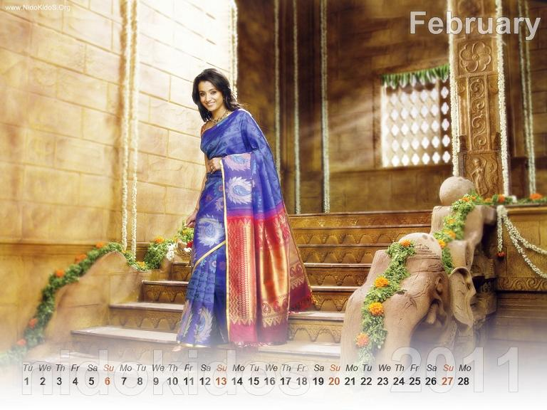 Trisha Krishnan Trisha-New-Year-Calendar-2011-Desktop-Calendar-February