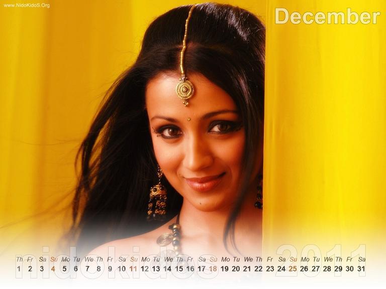 Trisha Krishnan Trisha-New-Year-Calendar-2011-Desktop-Calendar-December