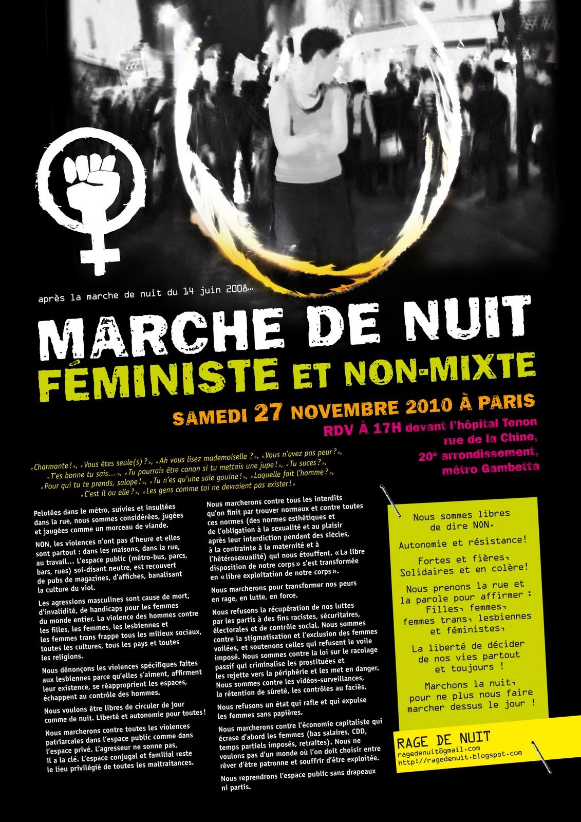 Manifestations féministes non-mixtes de nuit à Paris et à Lille AfficheA3couleur