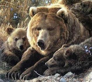 Omiljene divlje životinje Wild-animal-art-painting-grizzly-bear