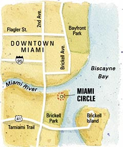 recent archaeological discoveries Miami-circle-map