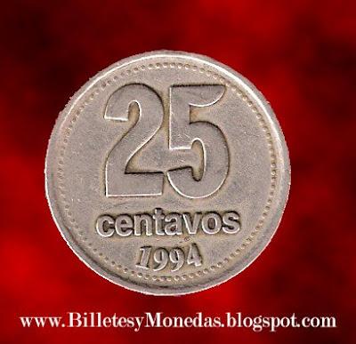 Argentina, 25 centavos, 1994 (Error). 25centavos