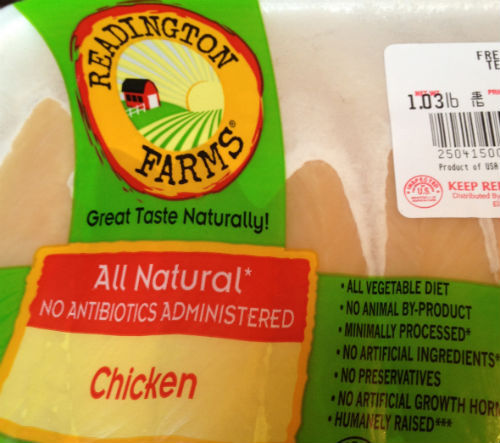 "Chicken, I love it. But knowing what I know about factory farms and how the greater portion of the meat in this country is processed, it's kind of scary to even think about eating it sometimes. So of course, you can imagine my excitement when I found this Readington Farms antibiotic-free, ""all natural"" chicken at my local grocery store. The only downside to it is that it's not USDA organic, which, among other things, could mean that the chickens' diets might consist of genetically modified ""foods,"" and it's ""minimally processed"" according to the package, which could mean a number of things, but I'll take that over any meat processed by the Big Farm industry any day. I don't think that this chicken really tasted any better than chicken you would buy from Tyson or Purdue but, the most noticeable difference between this chicken and the chicken meat you would get from a ""factory farm"" company is the size of the slices of meat. I've purchased Purdue chicken breasts many times in the past and they are always much, much larger than the breasts that came out of the Readington Farm package. For me, that's a huge indication that Purdue and other Big Farm brand chickens are artificially enhanced, even though they too make the ""all natural"" claims on their packaging.  I'm still a bit skeptical about the Readington Farms chicken because I know it's not 100% all-natural, but for someone like me who survives on a mostly vegetarian diet, but eats chicken meat every now and then as a protein source, I think it's a good option. This is the only ""natural"" meat brand offered at my local grocery store, but I am curious… Do you have an all-natural chicken brand that you trust and purchase regularly?"