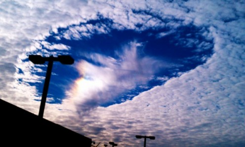"""What appear to be """"Translucent Ships"""" just CRUISING through the sky! are actually called hole punch clouds Hole-punch-cloud"""