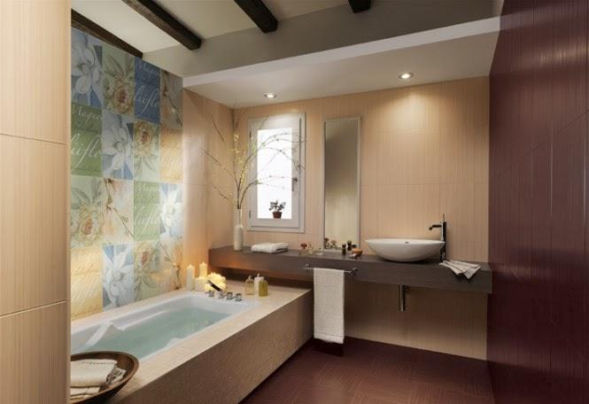 حمامات مجموعة تصميمات جذابة جداً  Floral-bathroom-tiles-floating-vanity-unit-665x456