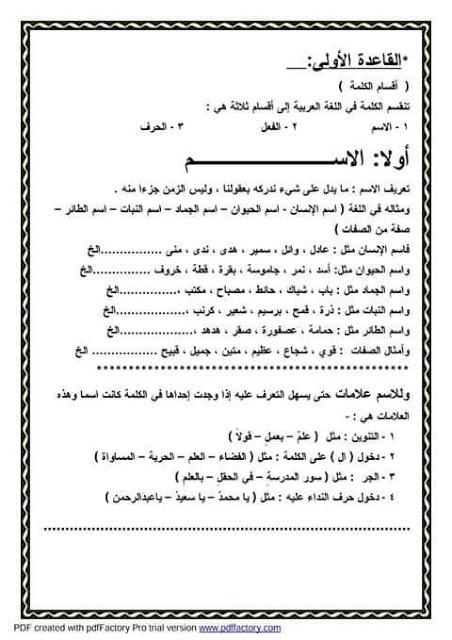 """ملف راااااائع شامل كل """"قواعد اللغة العربية للمرحلة الابتدائية"""" 2"""