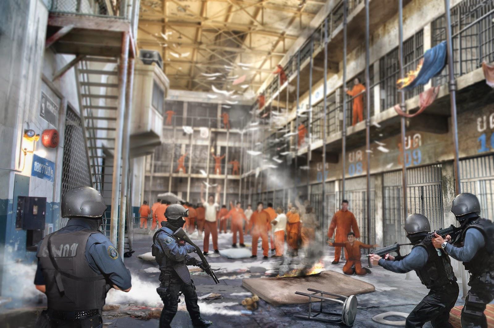 Le Noël d'Arkham  Prison-riot