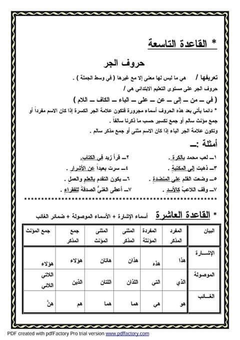"""ملف راااااائع شامل كل """"قواعد اللغة العربية للمرحلة الابتدائية"""" 11"""