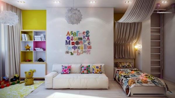 غرف نوم أطفال بألوان وتصميمات جميلة 11-Modern-kids-decor-600x337