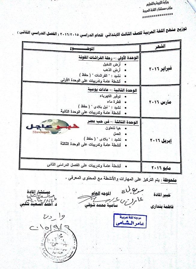 """لغة عربية: بالصور توزيع مناهج 2016 للصفوف الابتدائية """"من الاول للسادس الابتدائي"""" 5"""