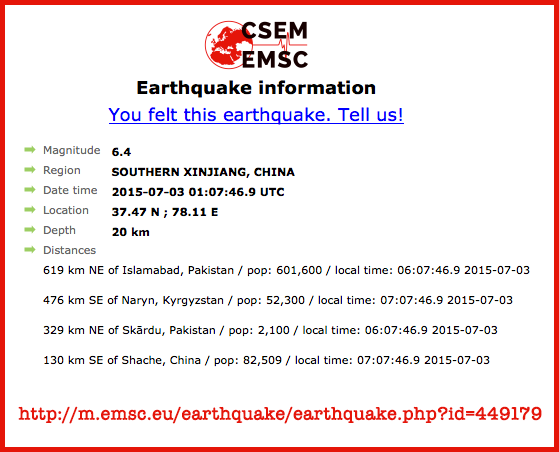 Earthquakes Hit, Gamma Prediction | S0 News July 3, 2015  Csem-xinjiang-quake