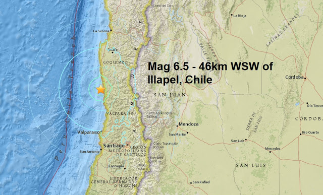 The earth is shaking: Another mag 6.5 - 46km WSW of Illapel, Chile is the second major quake to strike the area today  Untitled