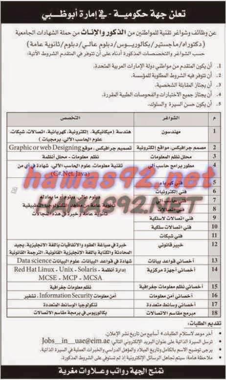 وظائف خالية من جريدة الاتحاد الامارات السبت 20-09-2014 %D8%A7%D9%84%D8%A7%D8%AA%D8%AD%D8%A7%D8%AF