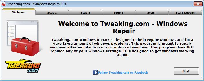 Tweaking.com - Windows Repair 1.9.0 اصلاح الويندوز واستعادة قوته Welcome%5B1%5D