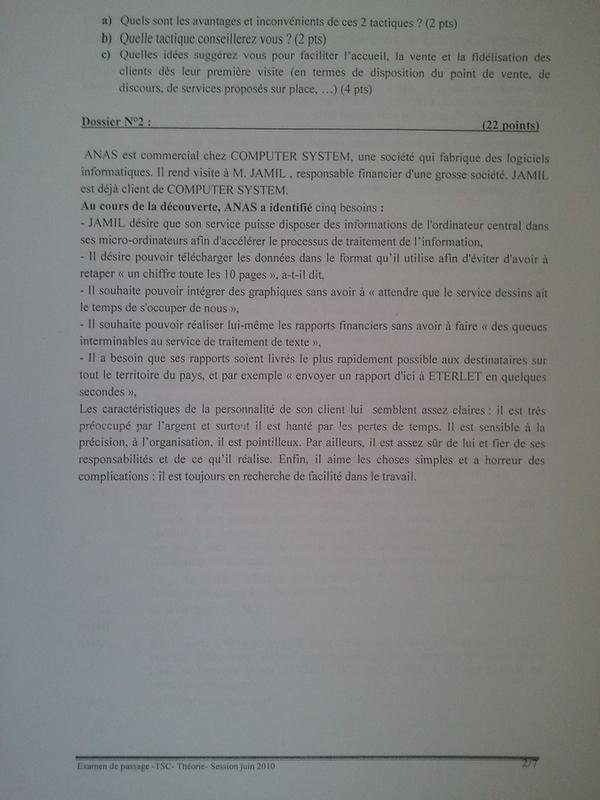 Examen de Passage TSC Pratique et Théorique 2010 002