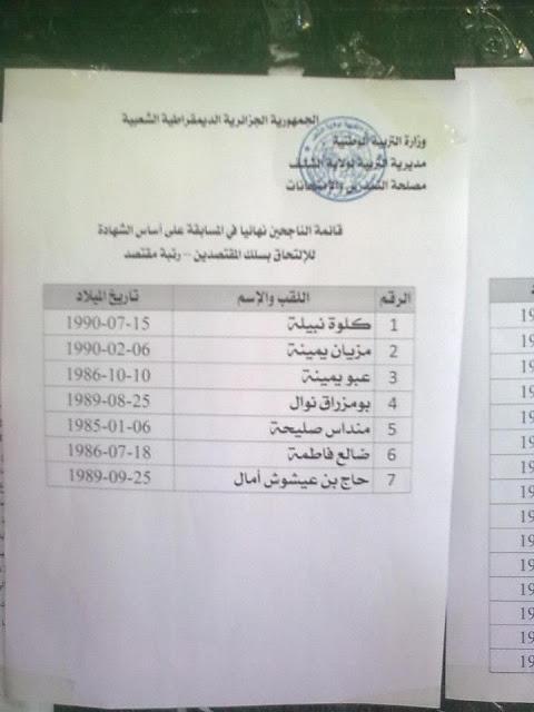 نتائج مسابقة توظيف المقتصدين و نواب المقتصدين في ولاية الشلف ماي 2013 %D9%85%D9%82%D8%AA%D8%B5%D8%AF