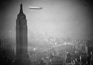 Zeppelin Hindenburg over New York