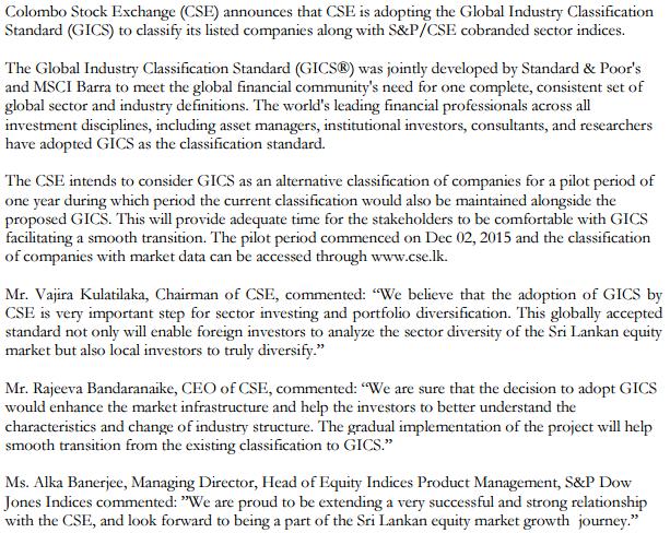 Colombo Stock Exchange adopts GICS Csss