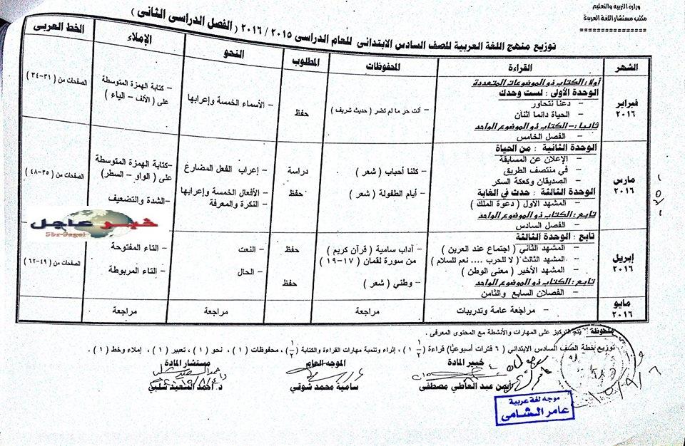 """لغة عربية: بالصور توزيع مناهج 2016 للصفوف الابتدائية """"من الاول للسادس الابتدائي"""" 10"""
