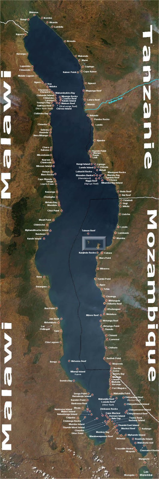 Mapa do Lago Malawi Mbunas