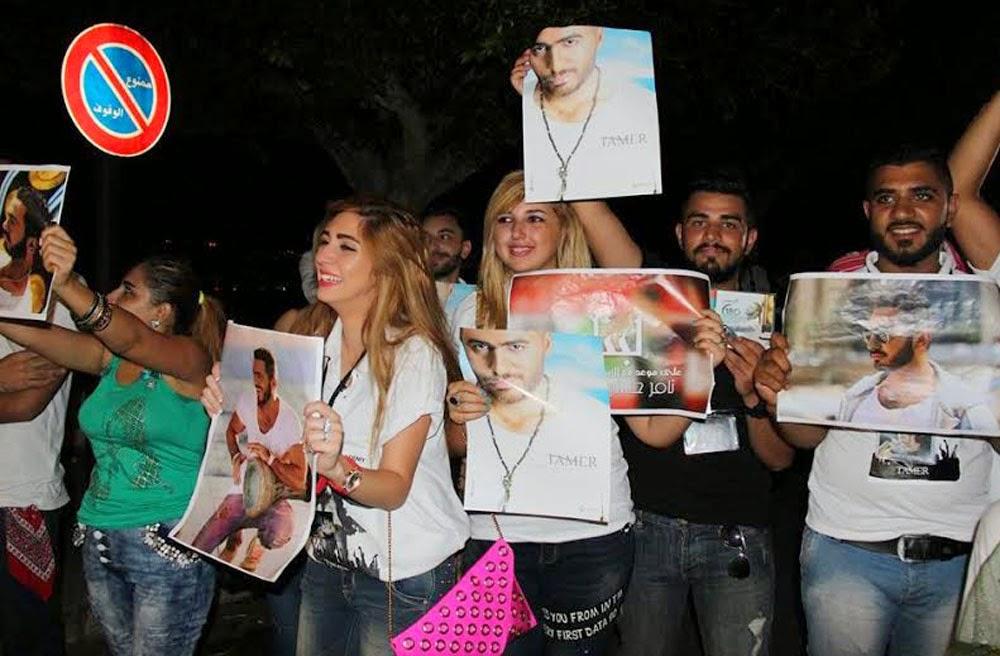 جميلات لبنان يحاصرن تامر حسني 2