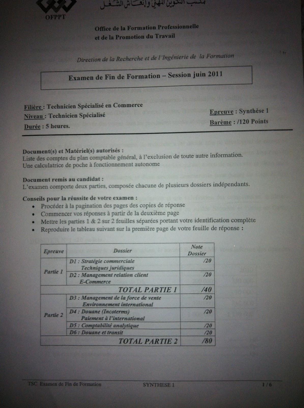 Examen de Fin de Formation Synthèse 2011 TSC 1
